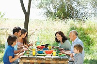 Family eating meal on outdoor table
