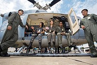 Military helicopter and crew Thailand