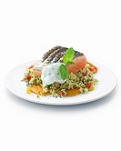 Couscous with grilled salmon steak.