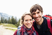 Couple on mountain portrait