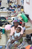 People waiting in Chalucuane Hospital, Mozambique, Africa