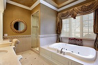 Master bath in elegant home with large tub