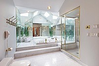 Master bath in luxury home with mirrored tub area