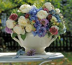 bouquet of summer flowers in blue and white