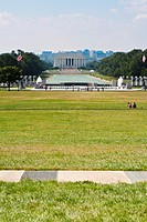 Washington DC - View of Lincoln Memorial across the National Mall from the Washington Monument in Washington DC