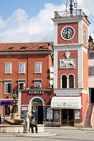 Croatia, Istria, Rovinj, clock tower, fountain,