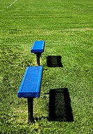 2 Blue benches at soccer field, British Columbia
