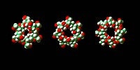 Cyclodextrins. Molecular models of alpha_ left, beta_ centre and gamma_ right cyclodextrin molecules. These comprise of six alpha, seven beta, or eigh...