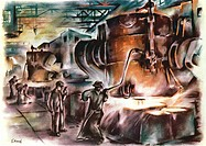 Oberhausen steelworks. Early 20th Century artwork of men at the steel forges in Oberhausen, Germany, using the Bessemer process to make steel. The Bes...