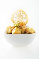 Fried lotus root and tofu dish