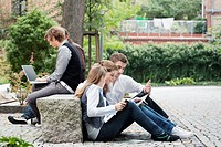Students studying together outdoors (thumbnail)