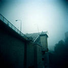 Bridge With the Drawbridge Up in Fog