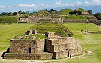 El Observatorio or The Observatory building, foreground, and the Plataforma Norte or Northern Platform, background, are seen in the ancient Zapotec ci...