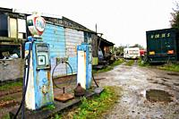 Old unused petrol pumps outside old garage in Bowland,Lancashire,England
