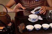 Tea ceremony with pu´erh tea at the Brilliant Resort and Spa in Kunming, Yunnan province, China.