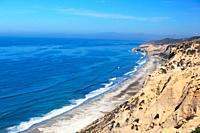 Cliffs over the Pacific Ocean at Torrey Pines Gliderport near San Diego, California, USA