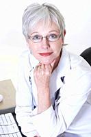 USA, California, Fairfax, Portrait of female doctor at desk