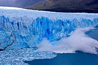 Glacial calving at the Perito Moreno glacier, Los Glaciares national park, Campo de Hielo Sur, Patagonia, Argentina, South America