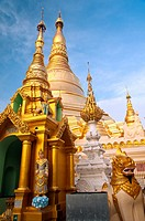 View of the main golden stupa, Shwedagon Pagoda, Yangon, Myanmar
