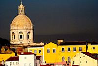 View of the Pantheon dome from the Mirador Nacional das Portas do Sol, Alfama, Lisbon, Portugal