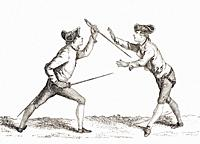 A swordsman disarms his opponent and is in a position to thrust  From XVIII Siecle Institutions, Usages et Costumes, published Paris 1875
