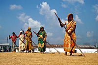 A group of women raking paddy, at the floor of a rice mill, in Sherpur, Bangladesh October 11, 2008