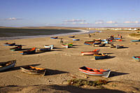Rowboats at beach, Paternoster, Western Cape, South Africa