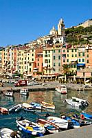 View over the Fishing Harbour and the old town of Portovenere in Liguria, North West Italy