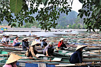 Boats on the river, Tam Coc in Halong bay near Ninh Binh, north Vietnam, Vietnam