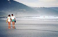 Couple wandering along misty beach
