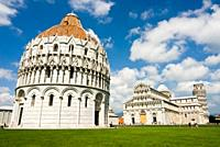 Piazza dei Miracoli, The Baptistry and the Dome, Pisa, Tuscany, Italy, Europe