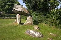 Carreg Coetan a Megalithic Burial Chamber in a housing estate in Newport Pembrokeshire Wales