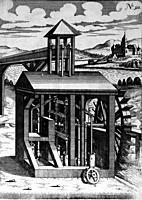 Illustration from Theatrum Machinarum Novum 1661 by Georg Andreas Böckler, A water powered irrigation pump, Water is pumped to a high level into a woo...