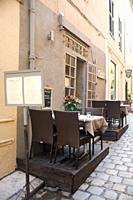 Restaurant in St Tropez with external tables on the lanes, Var Cote d'Azue, France