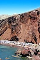 Cliff over Red beach in Akrotiri, Thira Santorini