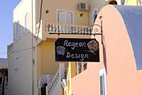 Decor shop 'Aegean Design' sign in Santorini
