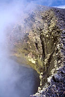 Looking into fuming lava tube Volcan Chico area Volcan Chico, Sierra Negra, Isabela Island, Galapagos, Ecuador