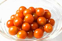 Cherry Tomatoes in a Glass Bowl