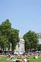 Tourists picnicking near Marble Arch, London, England, United Kingdom, Europe