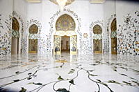 Thousands of semi_precious stones, inset in marble, decorate the Sheikh Zayed Grand Mosque, Abu Dhabi, United Arab Emirates, Middle East