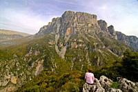 Woman looking at the Vikos Gorge, Epiros, Greece, Europe