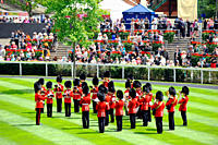 England, Berkshire, Ascot. A military band performing in the parade ring during day one of Royal Ascot 2010.