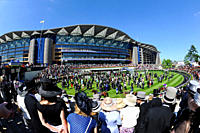England, Berkshire, Ascot. Runners and riders parading before a crowd during day two of Royal Ascot 2010.