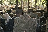 Headstones in the Old Jewish Cemetery, Stary Zidovsky Hrbitov, in Prague, Czech Republic