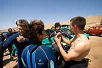 Divers listening to a dive briefing Dahab, Egypt