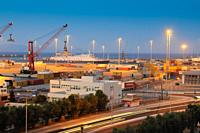 Night photo of cargo sea port in Heraklion, Crete Greece