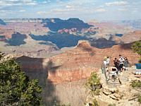 USA - The lookout platform at Javapai Point at the South Rim high above the Grand Canyon  Grand Canyon National Park, Arizona, USA