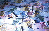 Euros, Money, notes, Euro, Money pile
