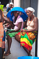 Local Markets, Girls Praia, Assomada Village, Sao Tiago Island Cape Verde