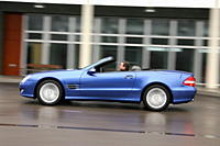 Mercedes SL 500, model year 2005_, blue moving, side view, City, open top